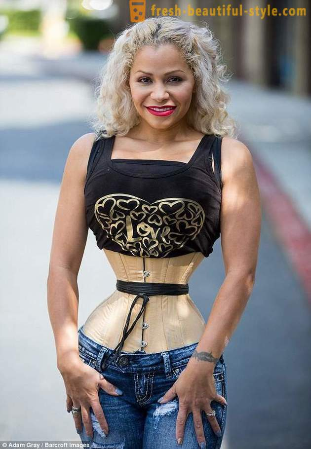 American woman with an incredibly thin waist 23 hours a day is a special corset