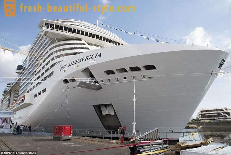 Launching ceremony of a giant cruise ship Maraviglia